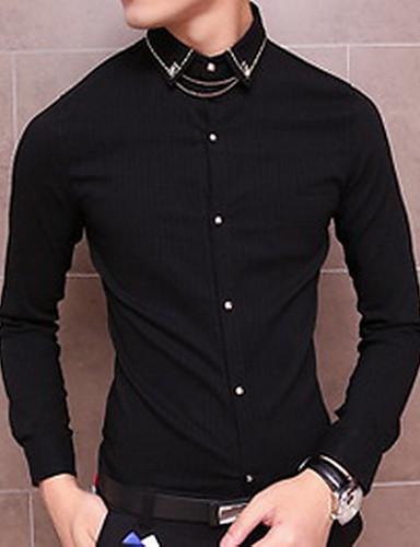 Bomull Blå / Rød / Hvit / Sort Medium Langermet,Skjortekrage Skjorte Ensfarget Vår / Høst Enkel Ut på byen Herre