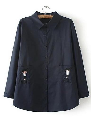 レディース カジュアル/普段着 夏 シャツ,シンプル シャツカラー ソリッド リネン 長袖 半透明