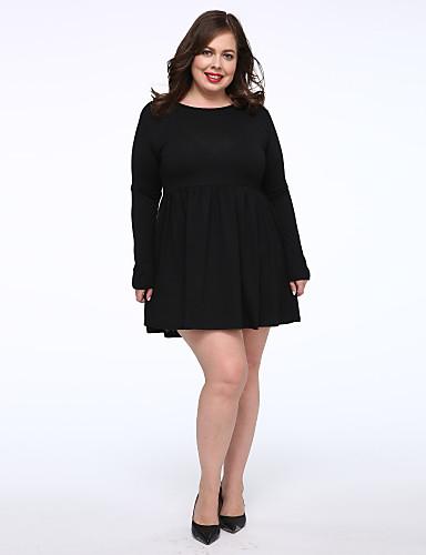 女性用 プラスサイズ 黒 ドレス ソリッド 膝上