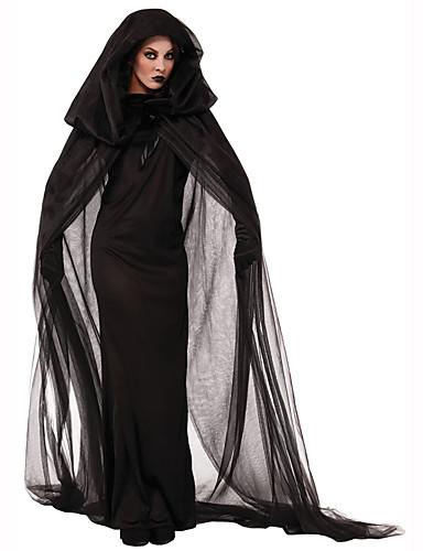 billige Halloweenkostymer-Trollmann / heks Dame Halloween Festival / høytid polyester Svart Dame Karneval Kostumer Ensfarget