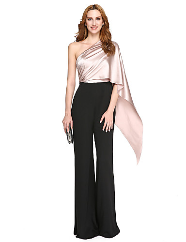 abordables Robes Deux Pièces-Deux Pièces Une Epaule Longueur Sol Polyester / Charmeuse Soirée Formel Robe avec Drapée par TS Couture®