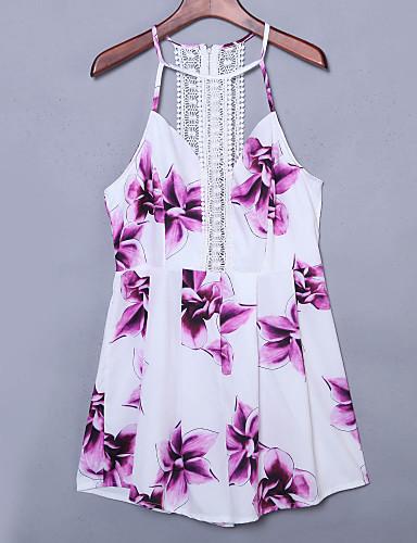 Damen Hülle Kleid-Lässig/Alltäglich Sexy Blumen Halter Mini Ärmellos Polyester Sommer Hohe Hüfthöhe Mikro-elastisch