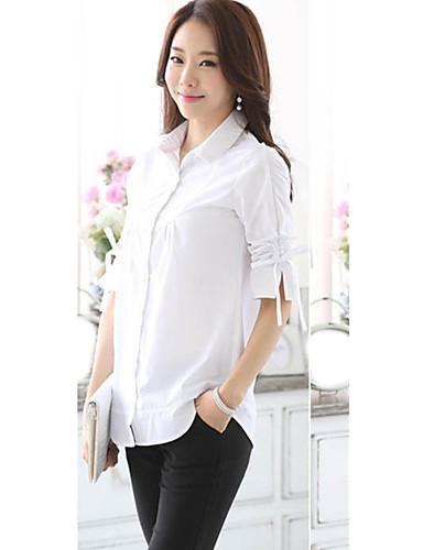 Damen Solide Übergröße Lässig/Alltäglich Hemd,Hemdkragen Frühling ¾-Arm Blau / Weiß Baumwolle / Polyester Dünn
