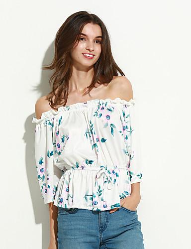 Damen Blumen - Retro T-shirt, Bateau / Frühling
