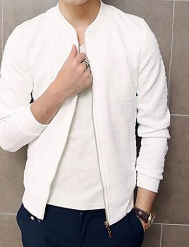 男性 カジュアル/普段着 ソリッド ジャケット,ヴィンテージ / 活発的 ホワイト / ブラック コットン 長袖