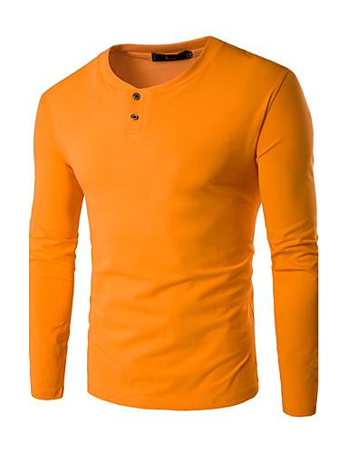 Bomull Tynn Langermet,Rund hals T-skjorte Ensfarget Høst Vinter Enkel Fritid/hverdag Plusstørrelser Herre