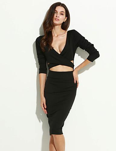 婦人向け シンプル カジュアル/普段着 ボディコン ドレス,ソリッド ディープVネック 膝上 長袖 ブラック ポリエステル 春