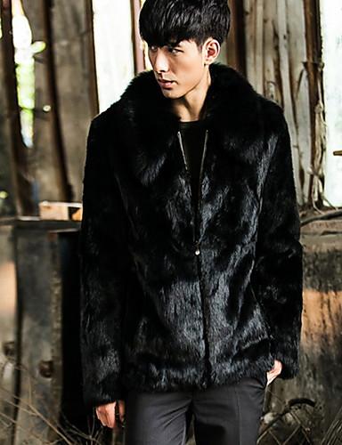 男性 カジュアル/普段着 ソリッド ファーコート,シンプル ブラック フェイクファー / レーヨン 長袖