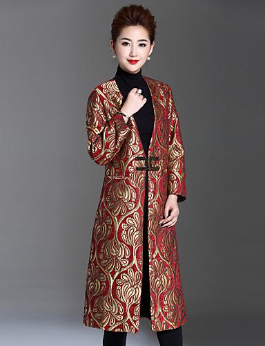 Mujer Tejido Oriental Maxi Abrigo Escote en V Profunda - Floral