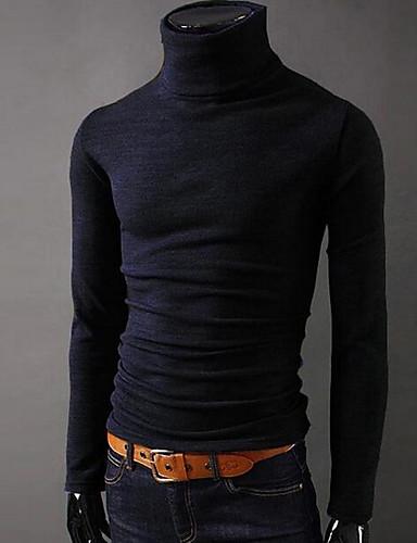 abordables Minimalismo-Hombre Básico Deportes Camiseta, Cuello Alto Delgado Un Color Gris oscuro L / Manga Larga