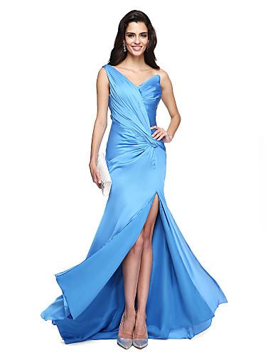 Tubinho Assimétrico Cauda Corte Chiffon Evento Formal Vestido com Drapeado Lateral de TS Couture®
