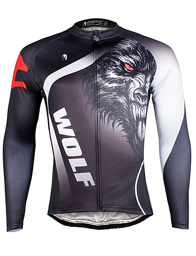 ILPALADINO Men s Long Sleeve Cycling Jersey Bike Jersey Top Breathable  Quick Dry Ultraviolet Resistant Sports 100% Polyester Terylene Mountain  Bike MTB Road ... 12f9ad669