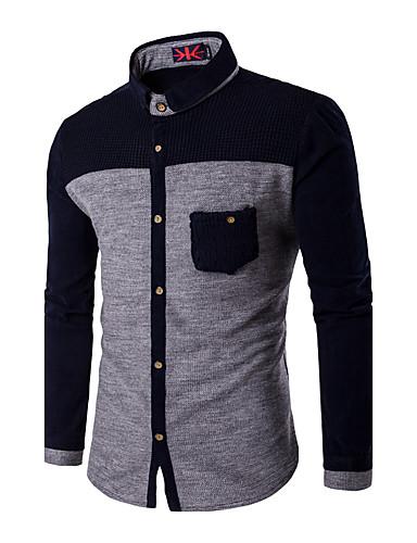 男性用 プラスサイズ シャツ レギュラーカラー スリム カラーブロック コットン