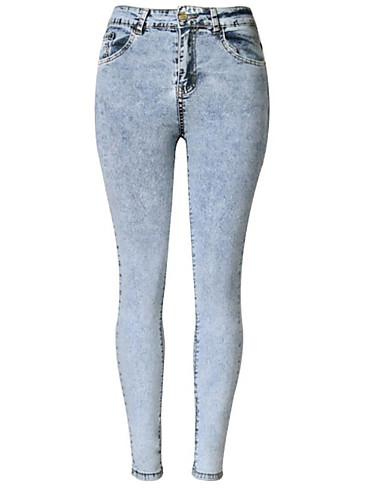 Dame Skinny Skinny Jeans Bukser Ensfarget Høyt liv