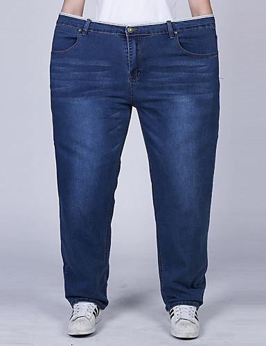 Homens Tamanhos Grandes Algodão Jeans Calças - Sólido Azul