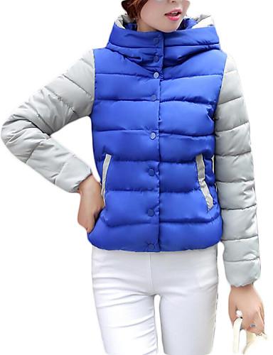 Dame Polstret Langermet Frakk,Enkel Fritid/hverdag Fargeblokk-Bomull Polyester Med hette Blå / Rød