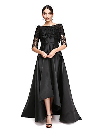 Linha A Ombro a Ombro Assimétrico Cetim Vestidinho Preto Evento Formal Vestido com Renda de TS Couture® /   Ilusão