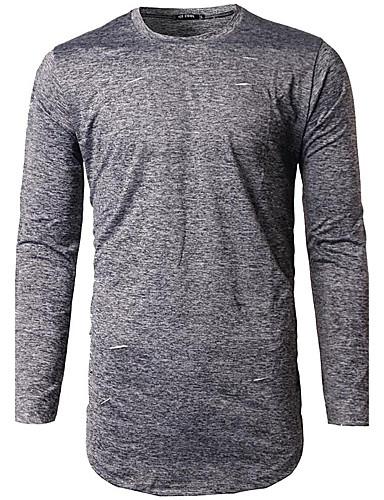 男性 春 Tシャツ,シンプル ラウンドネック ソリッド グレイ コットン 長袖 ミディアム