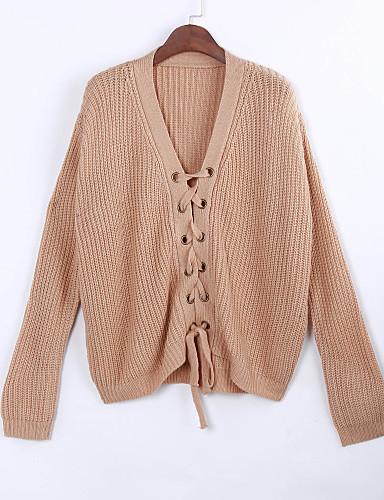 Normal Pullover Fritid/hverdag Gatemote Dame,Ensfarget V-hals Langermet Polyester Vinter Tynn Mikroelastisk