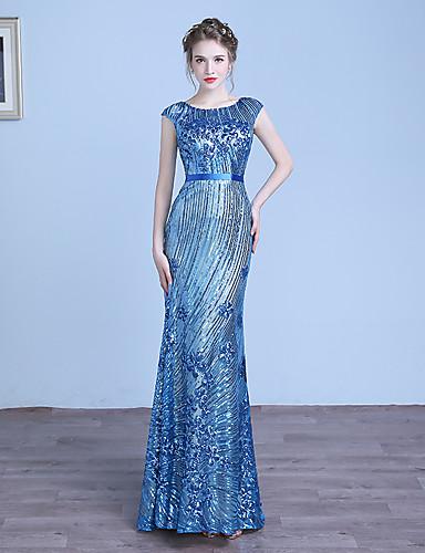 Kappe / kolonne juvel hals gulv lengde tulle sequined formelle kjole med paljetter