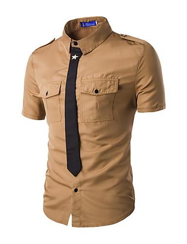 Bomull Tynn Kortermet,Skjortekrage Skjorte Ensfarget Sommer Enkel Aktiv Arbeid Herre