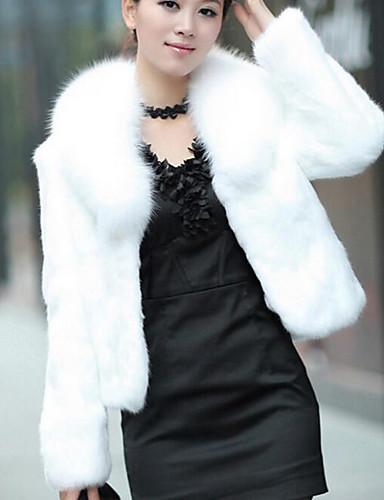 voordelige Damesjassen & trenchcoats-Dames Causaal / Feestdagen Chic & Modern Winter Kort Bontjas, Effen Sjaalrevers Lange mouw Imitatiebont Moderne Style Wit / Zwart