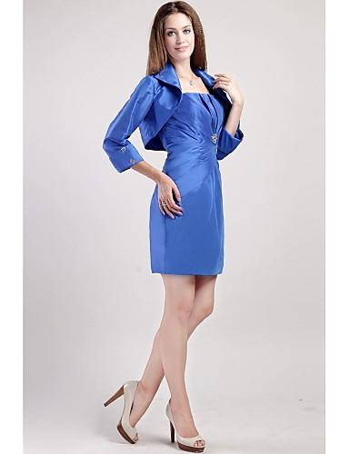dd81b143e88d Ίσια Γραμμή Λεπτές Τιράντες Μέχρι το γόνατο Σατέν Φόρεμα Μητέρας της Νύφης  με Χάντρες   Πλισέ