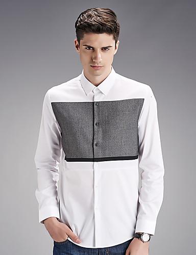 男性用 ワーク シャツ ヴィンテージ / ストリートファッション プリント コットン / 長袖