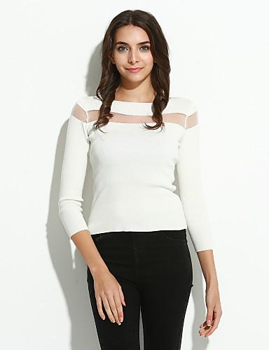 Dames Casual/Dagelijks Eenvoudig Normaal Pullover Effen-Wit Zwart Boothals Lange mouw Katoen Lente Medium Micro-elastisch