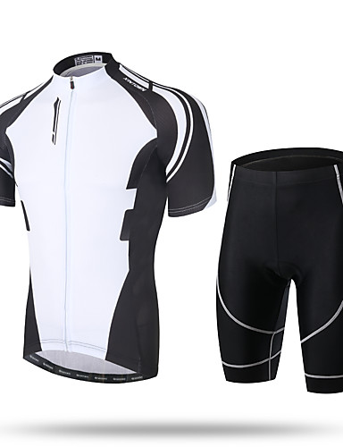cheap Cycling Clothing-XINTOWN Men's Short Sleeve Cycling Jersey with Shorts - Black Bike Shorts Pants / Trousers Jersey Breathable 3D Pad Quick Dry Ultraviolet Resistant Reflective Strips Sports Spandex Coolmax® Mesh
