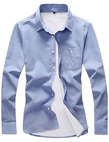 Bomull Langermet, Skjortekrage Skjorte Ensfarget Vinter Høst Fritid Daglig Herre