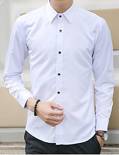 Polyester Blå / Rød / Hvit / Sort Medium Langermet,Skjortekrage Skjorte Ensfarget Høst Enkel / Gatemote Fritid/hverdag / Formelle / Arbeid