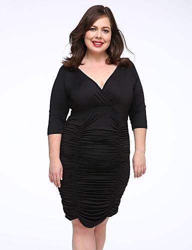 Kadın's Büyük Bedenler Bandaj Elbise - Solid Derin V Diz-boyu