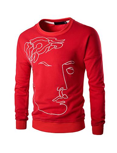 男性用 日常 スポーツ カジュアル 活発的 刺繍 スウェットシャツ レギュラー 長袖 ラウンドネック 冬 秋 ポリエステル