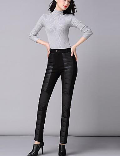Damen Einfach Hohe Hüfthöhe Dehnbar Chinos Skinny Hose einfarbig