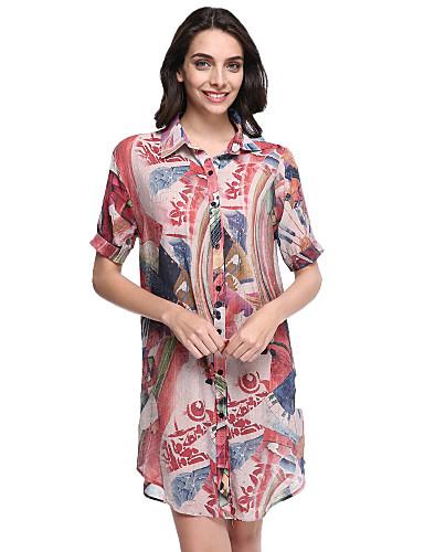 Mulheres Tamanhos Grandes Chifon Vestido - Estampado Colarinho de Camisa