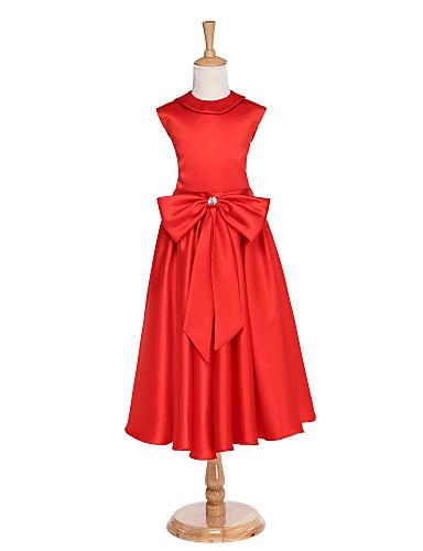 Kugle kjole te længde blomst pige kjole - jersey ærmerøs høj hals med bue (r) krystal detaljer