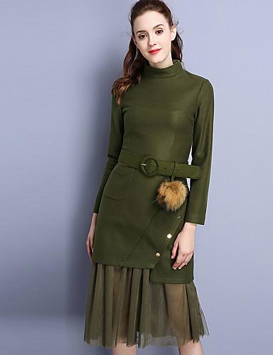Damen Solide Einfach Lässig/Alltäglich T-Shirt-Ärmel Rock Anzüge,Ständer Herbst Lange Ärmel