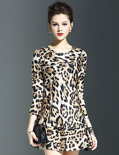 Damen A-Linie Kleid-Lässig/Alltäglich Sexy Leopard Rundhalsausschnitt Übers Knie ¾-Arm Seide Herbst Mittlere Hüfthöhe Unelastisch Mittel