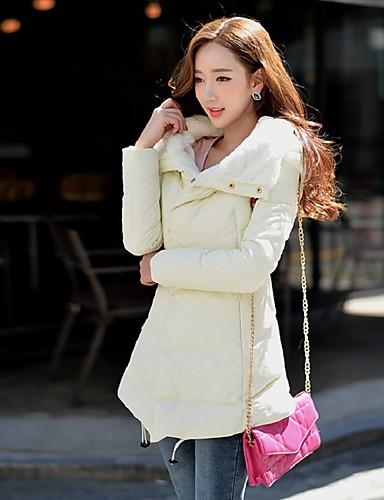 Damen Daunen Mantel,Lang Einfach Street Schick Anspruchsvoll Ausgehen Lässig/Alltäglich Urlaub Solide-Kunst-Pelz Nylon Weiße Entendaunen