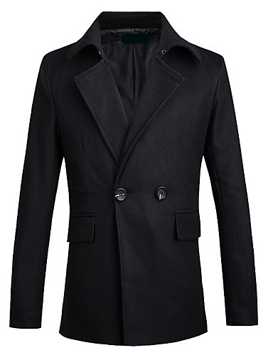 男性 カジュアル/普段着 冬 ソリッド コート,シンプル シャツカラー ブラック コットン 長袖 厚手