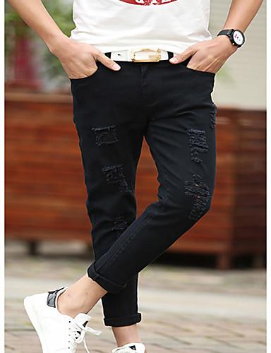 Herren Einfach Mittlere Hüfthöhe Micro-elastisch Jeans Lose Hose einfarbig