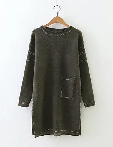 Damen Lang Pullover-Ausgehen Lässig/Alltäglich Einfach Street Schick Solide Rundhalsausschnitt LangarmKunst-Pelz Kunstseide Acryl