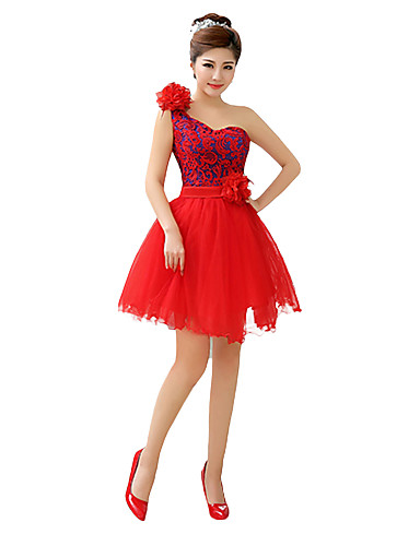 A-Line Princess Strapless Short / Mini Tulle Bridesmaid Dress with Flower Ribbon by QQC Bridal
