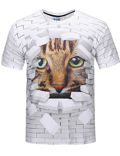 cheap Men's Tees & Tank Tops-Men's Party Going out Club Street chic / Punk & Gothic T-shirt - 3D / Animal Print Round Neck Brown L / Short Sleeve / Spring / Summer