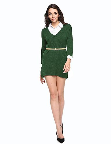 女性用 ルーズ ドレス カラーブロック 膝上