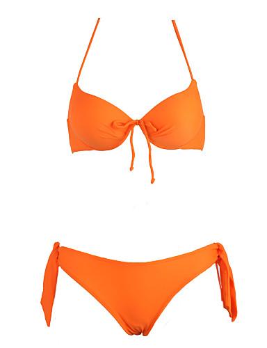 abordables Hauts pour Femmes-Femme Uni Push-Up Sportif Licou Orange Fuchsia Vert Bikinis Maillots de Bain - Couleur Pleine M L XL Orange / Soutien-gorge à Armatures
