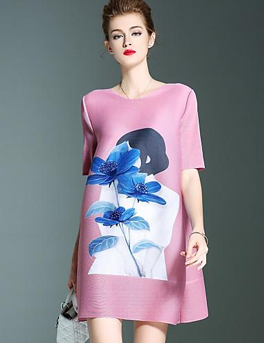 Damen A-Linie Kleid-Lässig/Alltäglich Retro Blumen Rundhalsausschnitt Übers Knie Kurzarm Blau Rosa Rot Polyester Herbst Mittlere Hüfthöhe
