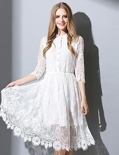 Damen A-Linie Kleid-Ausgehen Niedlich Solide Rundhalsausschnitt Midi ¾-Arm Weiß Baumwolle Polyester Frühling Herbst Mittlere Hüfthöhe