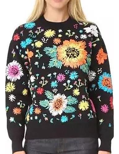 Damen Standard Pullover-Lässig/Alltäglich Formal Einfach Street Schick Stickerei Rundhalsausschnitt Langarm Kunstseide Polyester Elasthan